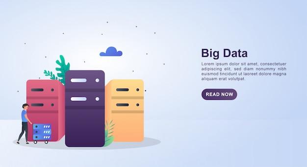 서버를 추진하는 사람과 큰 데이터의 그림 개념.