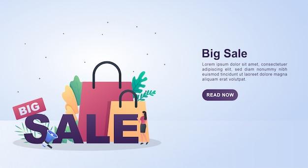 확성기와 가방 큰 판매의 그림 개념.