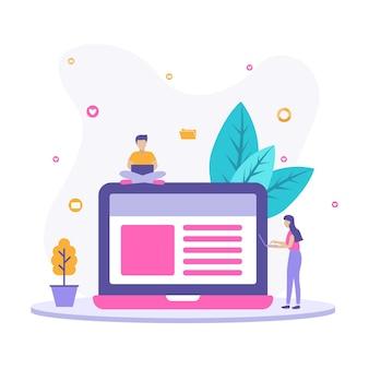 Иллюстрация концепции ведения блога с людьми, проверяющими свои блоги.