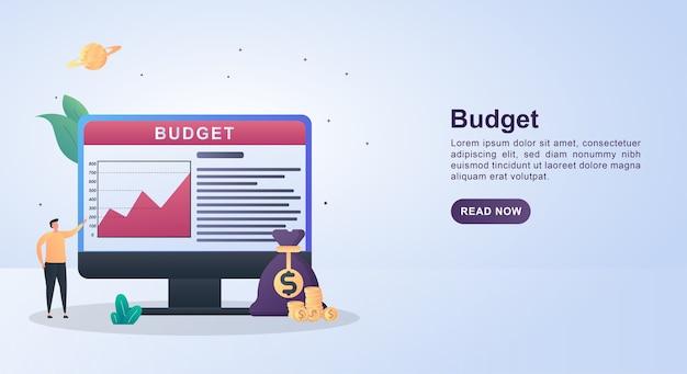 Концепция иллюстрации бюджета с денежными мешками и монетками.