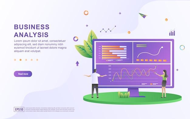 コンピュータ画面上のグラフィックスとビジネス分析のイラストの概念。
