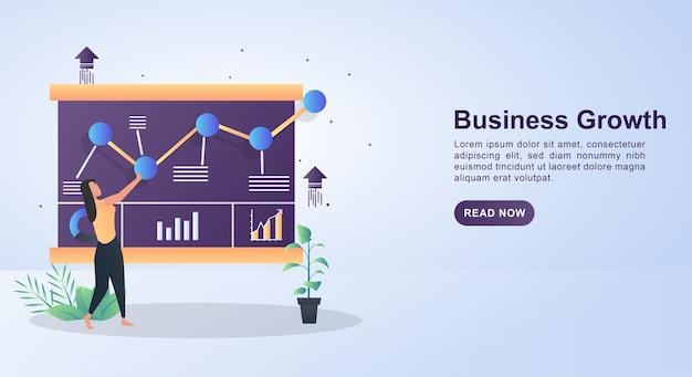 グラフが増え続けるビジネス成長のイラストコンセプト。