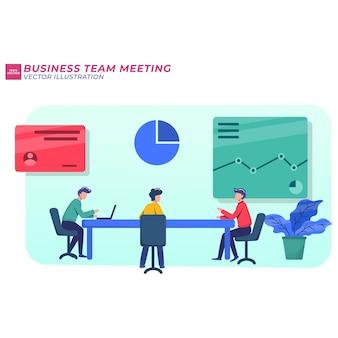 Иллюстрация концепции бизнес-встречи, обучение работе в команде, повышение профессионального мастерства.
