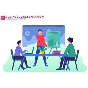 Иллюстрация концепции деловой встречи, совместной работы, обучения, улучшения