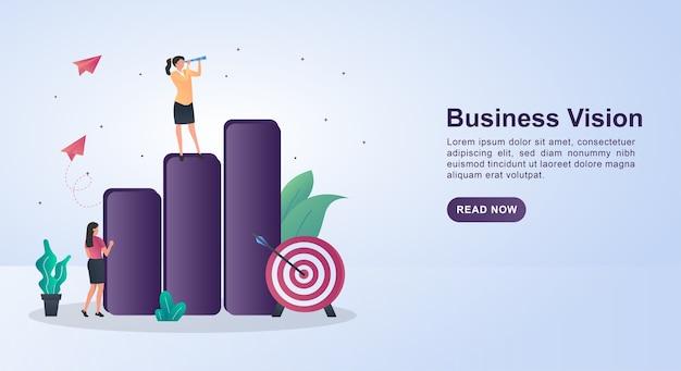 チャートの上部を見ている人とビジネスビジョンのイラストの概念。