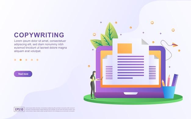 バナーのノートパソコンの画面でコピーライティングを行う人のコピーライティングのイラストコンセプト