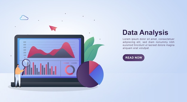 虫眼鏡を持っている人とのデータ分析のイラストコンセプト。