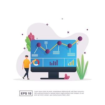 Иллюстрация концепции анализа данных с человеком, указывающим на экран монитора.