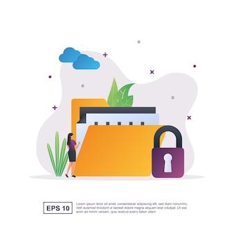 자물쇠를 가진 사람과 데이터 보호의 그림 개념.