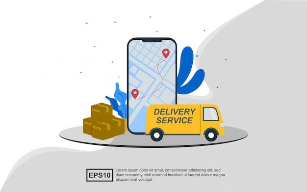 Иллюстрация концепции доставки сейфа с использованием автомобиля