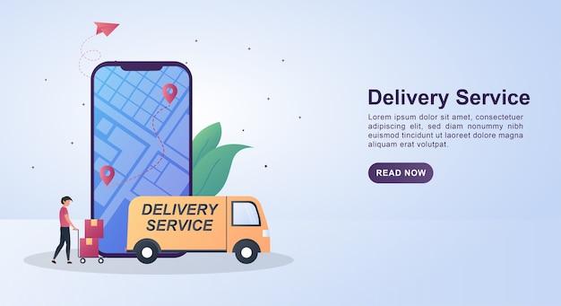 Иллюстрация концепции службы доставки с человеком, подталкивающим картон к машине.