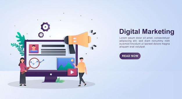 큰 확성기와 디지털 마케팅의 그림 개념입니다.