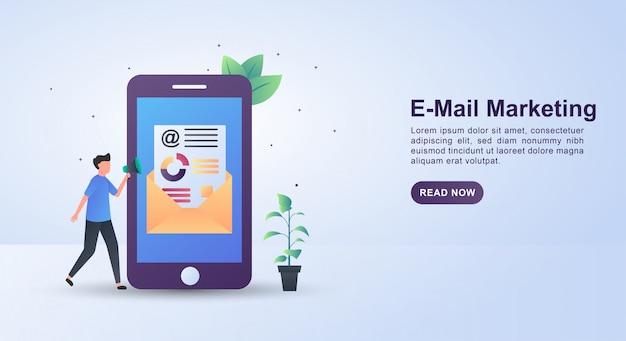확성기를 들고 사람들과 전자 메일 마케팅의 그림 개념.