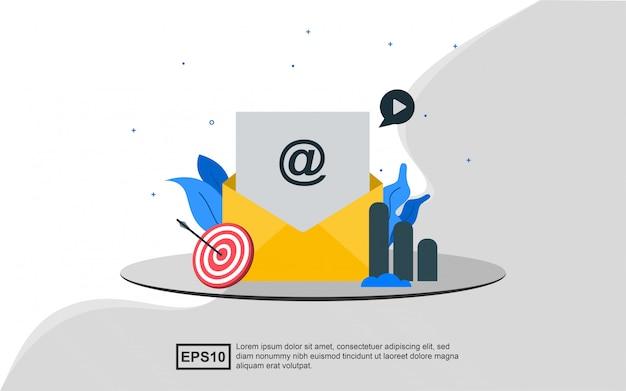 전자 메일 마케팅의 그림 개념입니다.