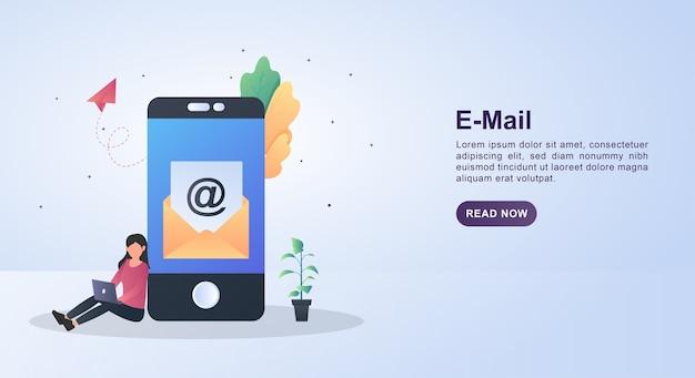 画面にメールを含む手紙の絵とメールのイラストコンセプト。