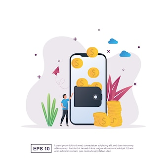화면에 지갑과 동전으로 가득 찬 지갑이 있는 전자 지갑의 그림 개념.
