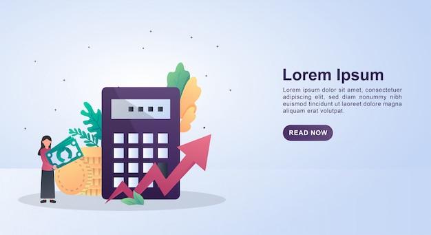 電卓とお金を持っている人と経済の概念図。