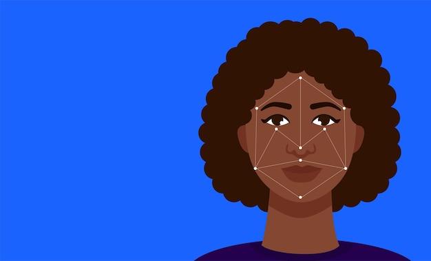 Концепция иллюстрации биометрии лица