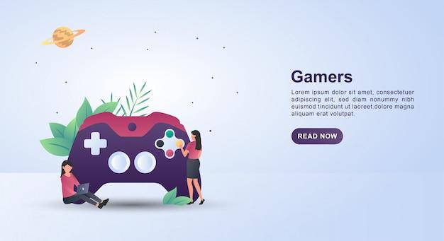 ジョイスティックのボタンを押す人とゲーマーのイラストのコンセプト。