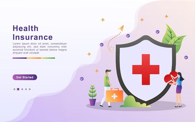 健康保険のイラストコンセプト。