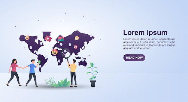 친구를 초대 한 사람들과 함께하는 인플 루 언서 마케팅의 일러스트 컨셉.