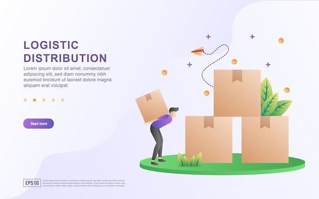 Иллюстрация концепции логистического распределения с человеком, несущим коробку.