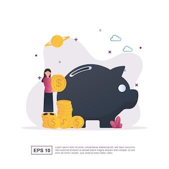 큰 돼지 저금통으로 절약하는 돈의 그림 개념.