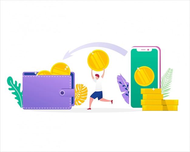 사람들이 평면 문자 지갑과 스마트 폰으로 돈 전송의 그림 개념