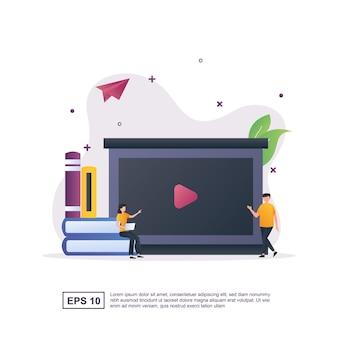 책에 앉아있는 사람과 온라인 교육의 그림 개념.