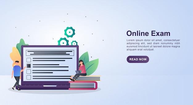 Иллюстрация концепции онлайн-экзамена, отвечая на вопросы на ноутбуке. Premium векторы