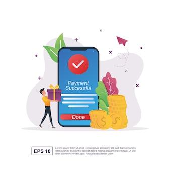 Иллюстрация концепции онлайн-платежа с уведомлением об успешной оплате на экране.