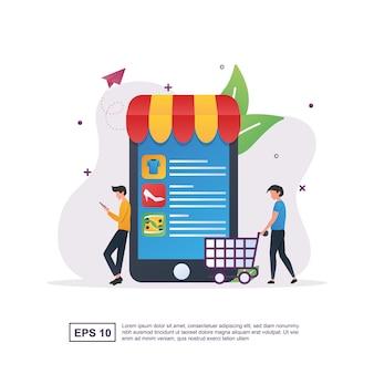 온라인 쇼핑의 그림 개념은 쇼핑 소비자를 촉진합니다.