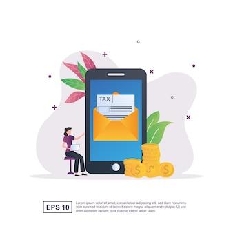 세금 양식이 포함 된 화면 문자가있는 온라인 세금의 그림 개념.
