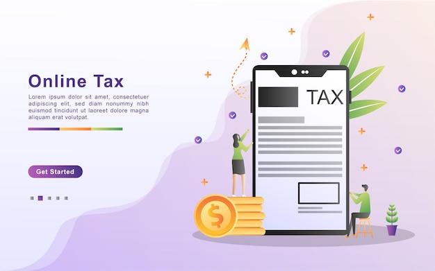 オンライン税のイラストの概念