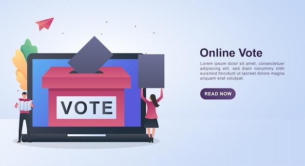 투표 용지를 들고 사람과 온라인 투표의 그림 개념.
