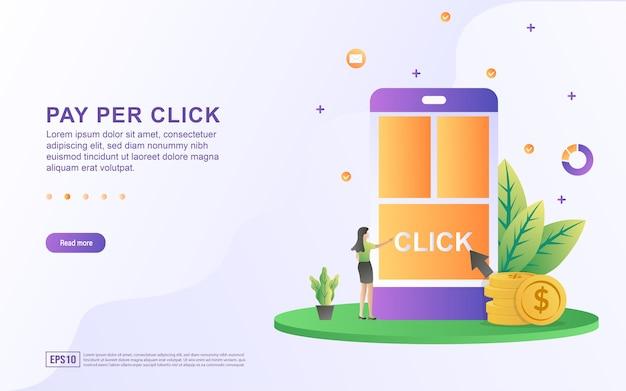 Иллюстрация концепции оплаты за клик с курсором, указывающим на клик по экрану для баннера