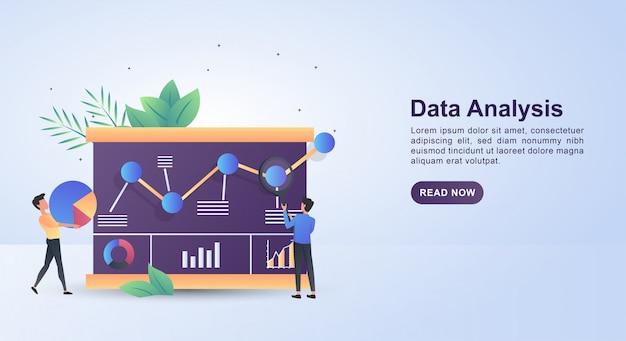 돋보기를 사용하여 데이터를 분석하는 사람들의 그림 개념.