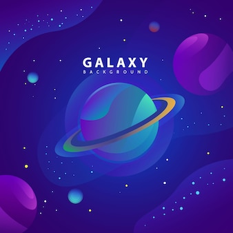 惑星と銀河の図の概念