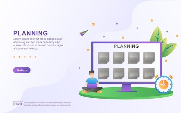 Иллюстрация концепции планирования с графиком на экране.