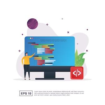 コンピュータを持っている人とプログラミングのイラストの概念。