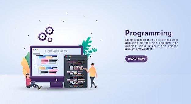モニター画面にあるプログラミング言語でプログラミングのイラストコンセプト。