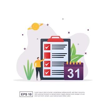 イラストカレンダーの給与と日付による給与支払いの概念。