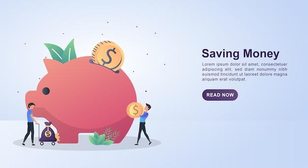 Иллюстрация концепции экономии денег с людьми, которые приносят монеты, чтобы положить в копилку.