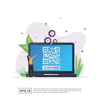 화면에 바코드로 스캔 Qr 코드의 그림 개념. 프리미엄 벡터