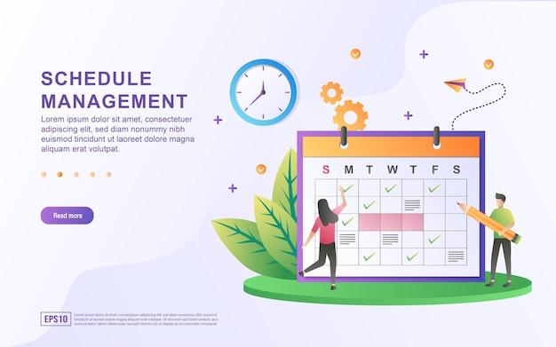 カレンダーに計画を立てる人とのスケジュール管理のイラストコンセプト。