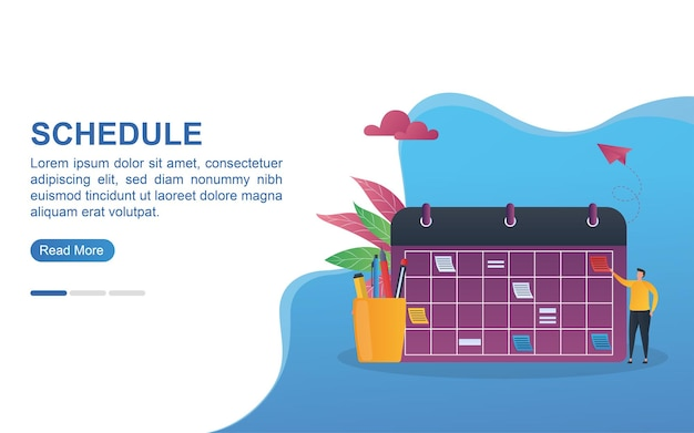 Иллюстрация концепции расписания с большим календарем и пеналом.