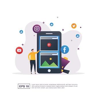 마케팅 범위가 넓어 지도록 소셜 미디어 마케팅의 일러스트레이션 개념.