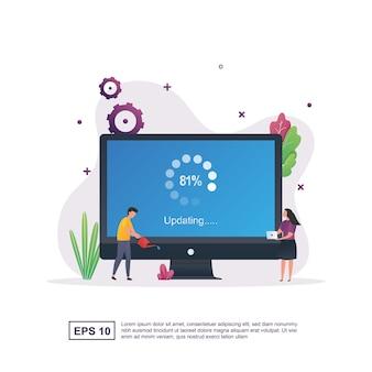 Иллюстрация концепции обновления системы с отображением 81 процента на экране.