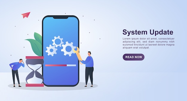 Иллюстрация концепции обновления системы с человеком, держащим гаечный ключ.