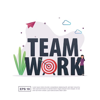 イラストターゲットと人々とのチームワークの概念。